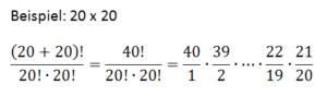 Vereinfachte Gleichung für die Permutation von 20 und 20 Elementen