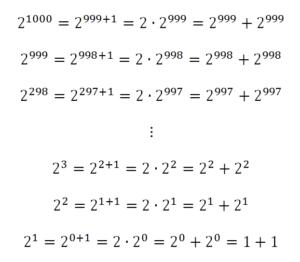 Herleitung für die iterative Berechnung von 2er Potenzen ab 2^0 = 1