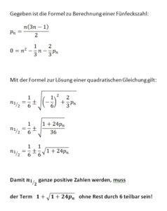 Herleitung der Formel zum Prüfen, ob eine gegebene Zahl eine Fünfeckszahl ist.