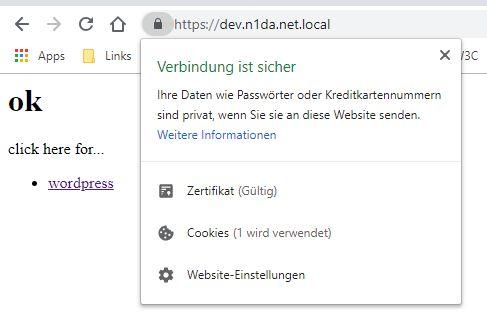 Sichere Verbindung zu lokaler Webseite mit mkcert